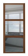 Shaker Sliding Wardrobe Door- WALNUT FRAME - 3  MIRROR PANELS